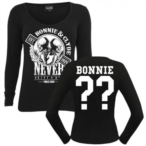 Frauen Langarm Shirt WUNSCHZAHL Bonnie /& Clyde GANGSTER longsleeve individuell