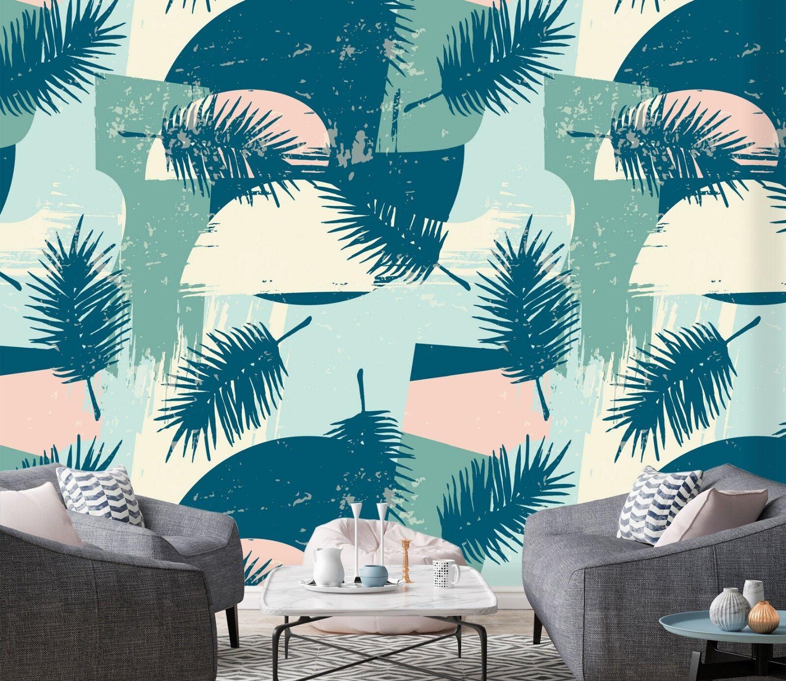 3D Geometric Leaves 533 Wallpaper Murals Wall Print Wallpaper Mural AJ WALL UK