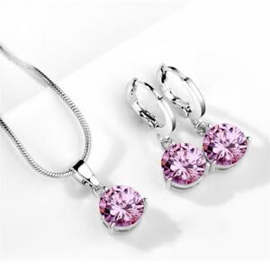 Pretty-Girls-Exquisite-Jewelry-Pink-Topaz-Crystal-Silver-Earrings-and-Necklaces
