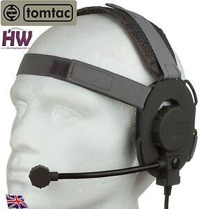 AIRSOFT-TOMTAC-BOWMAN-EVO-III-3-HEADSET-BOOM-MIC-GREY-GREEN-HELMET-RADIO-UK