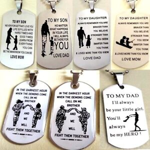 Details about Wholesale 7 X Dog Tag Necklace Pendants Dad Son Daughter  Brother Birthday Gifts
