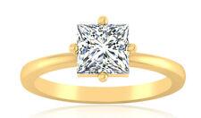 1.00 Crt Princess Cut Diamond Ring 14K Hallmarked Gold Ring Diamond Ladies Rings