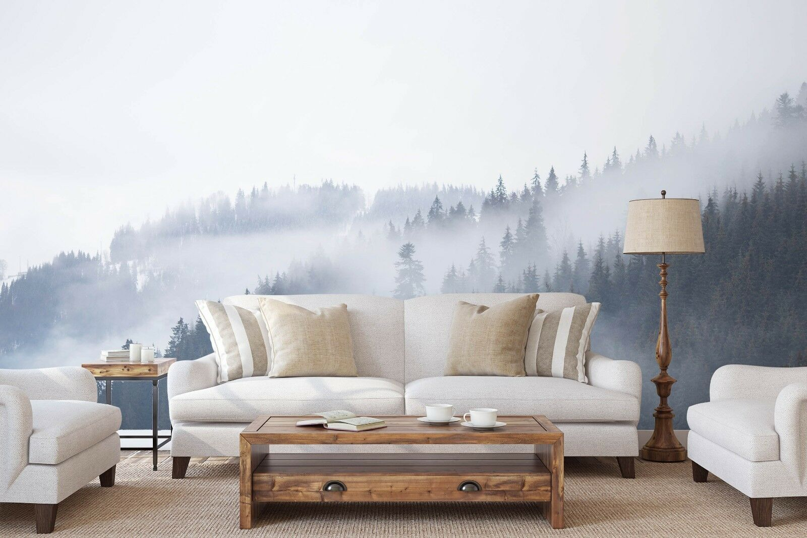 3D Mountain Forest Fog 375 Wall Paper Exclusive MXY Wallpaper Mural Decal Indoor