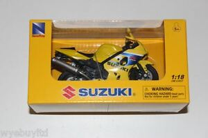 Newray-Suzuki-GSX-R-600-jaune-moulage-sous-pression-plastique-moto-modele-velo
