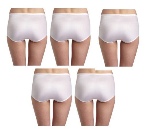 5 Vanity Fair Body Caress Panties Silky Satin Briefs 13138 White 6 7 8 9