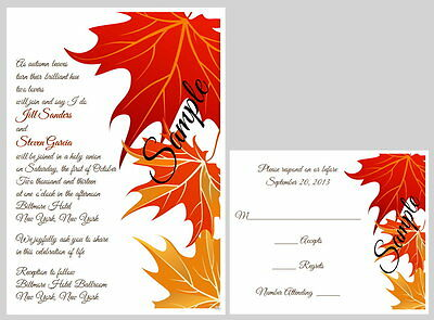100 Personalized Custom Fall Autumn Leaves Wedding Invitations Set