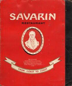 Vintage SAVARIN Restaurant Menu New York 1963