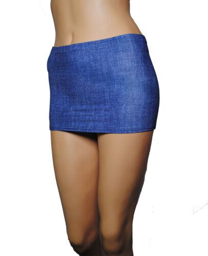 "Micro Mini Skirt Denim Blue Lycra Stretch Party Club Women Bodycon 9/"" Short CS25"