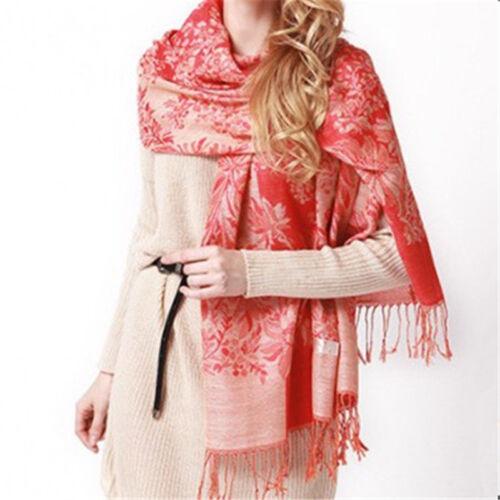 Frauen Ethnischen Stil Blumenmuster Quasten Langen Warmen Schal Schal Geschenk