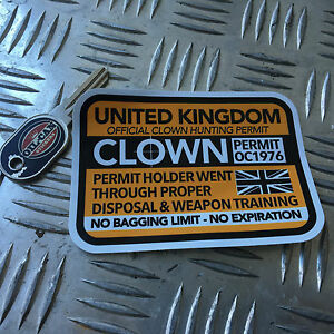 CLOWN-HUNTING-PERMIT-sticker-united-kingdom-110-x-80mm-killer-clown