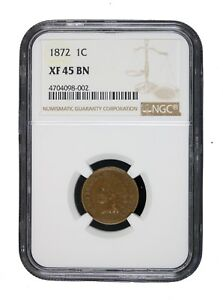 1872-1C-Indian-Head-Cent-Penny-NGC-XF45-BN-Extra-Fine-EF-Certified-Key-Date-8002