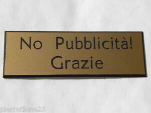 """Placca Di Non Zoppico Alle Lettere No PubblicitÀ Grazie"""" Dimensioni 70 X 200 Mm Belle En Couleur"""