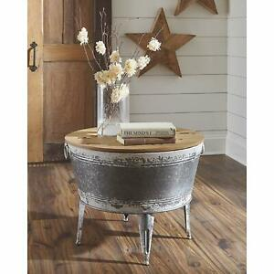 Details About Rustic Farmhouse Coffee Table Storage Metal Wood Trunk Chest With Lid
