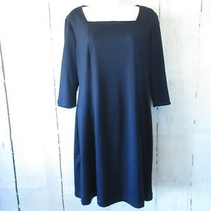 Travelsmith-Dress-M-Medium-Navy-Blue-Square-Neck-Packable-3-4-Elbow-Sleeve