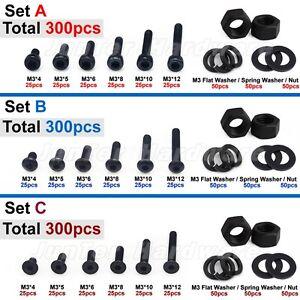 300pcs M3 Black Alloy Steel Hex Socket Screws Nuts Washer Assortment Kit Set C Flat Head
