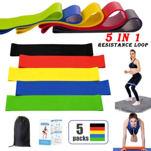 5er Set Fitnessbänder Sport Fitnessband Widerstandsband Gummiband Gymnastik  #a