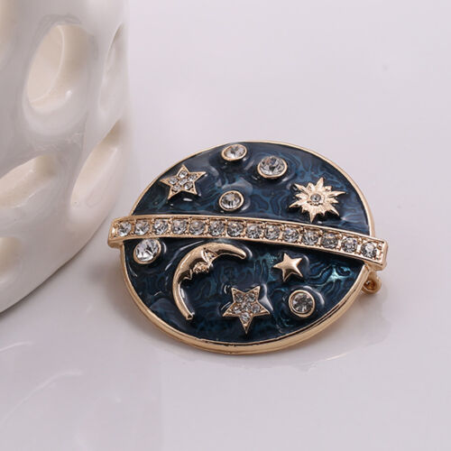 Broche Rond Galaxie Etoile Lune Email Bleu Marine  Retro Doré XZ4