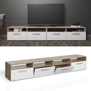 meuble bas tv armoire table pour t l viseur tag re rack sonoma blanc 2 er ebay. Black Bedroom Furniture Sets. Home Design Ideas
