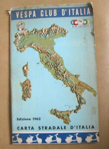 Cartina Stradale D Italia.Vespa Club D Italia 1962 Carta Stradale D Italia Map Of Italy Ebay