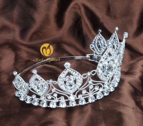 "Elegant 4/"" Wedding Tiara Headband Clear Austrian Rhinestone Bridal Pagenat Prom"