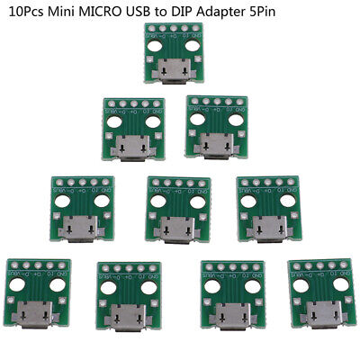 10Pcs Mini MICRO USB to DIP Adapter 5Pin Female Connector PCB Converter BoardSR