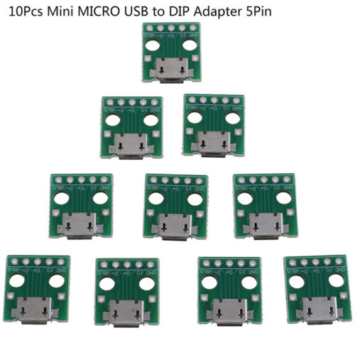 10Pcs MICRO USB to DIP Adapter 5Pin Female Connector PCB Converter Board/_me LL