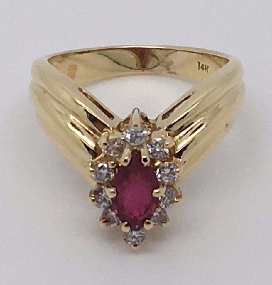 14K YELLOW gold BEAUTIFUL RUBY AND DIAMONDS RING