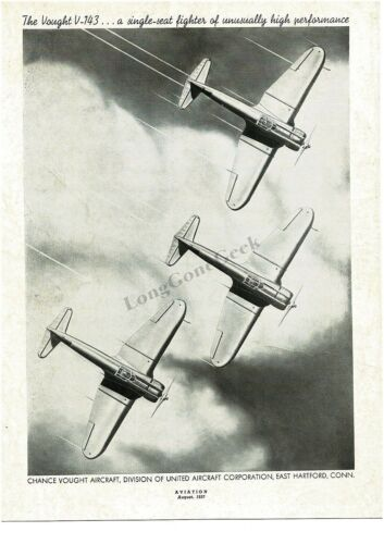 1937 CHANCE VOUGHT V143 Single Seat Fighter Airplane art VTG PRINT AD