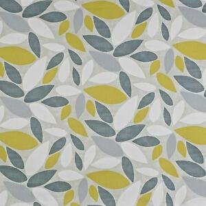 Prestigious Textiles Pimlico Grey Yellow Leaves 100 Cotton Curtain Fabric Ebay