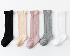 Girl Kid baby Ruffle Stripe knees Calf High Cotton long Socks Tights 0-36months