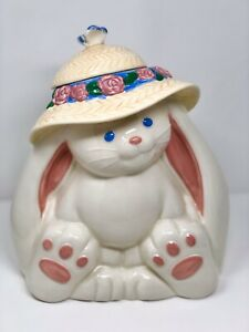Treasure-Craft-Bunny-Rabbit-With-Bonnet-amp-Butterfly-Cookie-Jar-Large