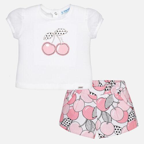 completo maglietta short stampato ciliegie rosa nero pois mayoral bimba neonata