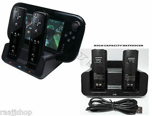 BLACK-DUAL-DOCKING-STATION-2x-BATTERIES-CABLE-FOR-WII-amp-WII-U-REMOTE-GAMEPAD