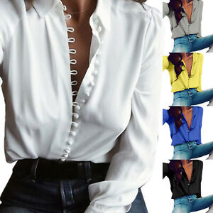US-Womens-Long-Sleeve-Loose-Tops-Ladies-V-Neck-Casual-Office-Work-Shirts-Blouse