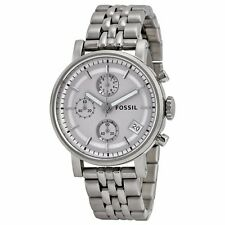Fossil Women's ES2198 Silver-Tone Stainless Steel Watch with Link Bracelet