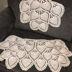 Vintage Hand Crocheted Arm Chair Doilies Matching Set of 2 ...