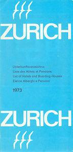 Historic Zurich Switzerland 1973 Map-City Center/Region-Hotel Index-1973 Prices