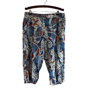 Chicos Linen Paisley Crop Capri Pants Blue Orange Size XL