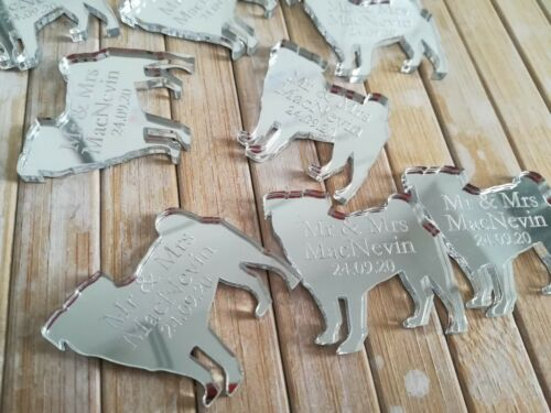 Pug Dog silver mirror personalised Wedding// Party Table Confetti Scatter Favours
