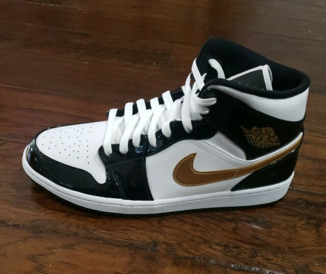 affa2082e8fa Nike Air Jordan 1 Mid SE Size 11 Metallic Black and Gold Patent Leather