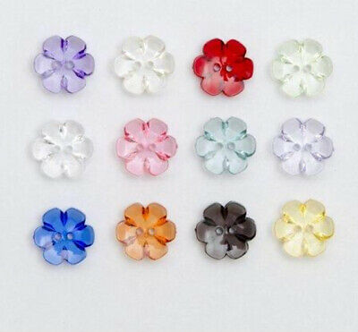 Various Colours Available Pastel Coloured Flower Shaped Buttons Size 13mm