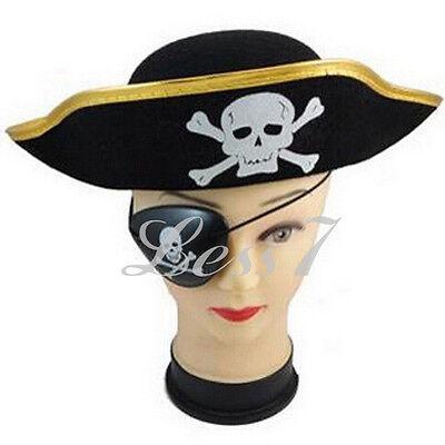 New Pirate Captain Hat Women Men Cap Fancy Dressing Up Halloween Golden Brim