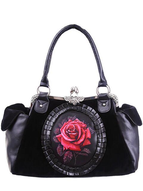 Restyle Cameo Rose Gothic Tasche Samt Handtasche Purple Victorian rot red  Bag