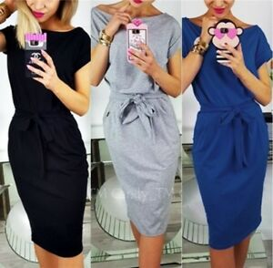 558eb9b97 Image is loading Women-Short-Sleeve-Bodycon-Midi-Dress-Stretch-Belted-