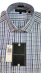 Tommy-Hilfiger-Shirt-Blue-100-Cotton-Plaids-amp-Check-Standard-Cuff
