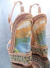 NEU HOHE WEDGE GOLD Damen Sandalen Pumps Schuhe P71 Sky High Heels Keilabsatz 38