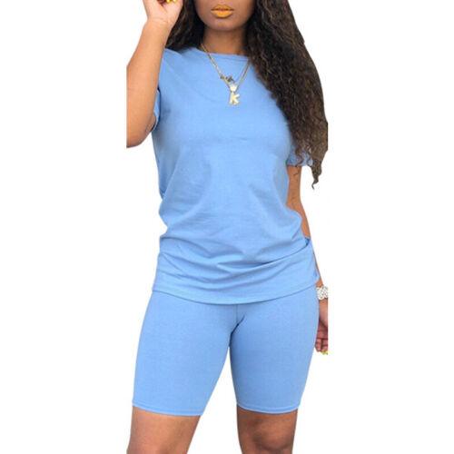 Womens Baggy Short T-Shirt Top/& Leggings Tracksuit Set Summer Cycling Loungewear