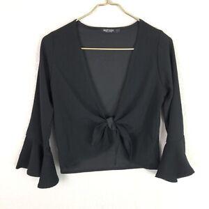 Nasty-Gal-Bell-Sleeve-Wrapover-Tie-Front-Deep-V-Crop-Top-Black-Women-039-s-Size-US-4