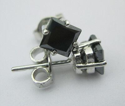 AAA+ 2.20 TCW OPAQUE Black Princess cut Stud solatire STERLING silver Earringsnr