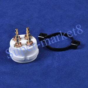 1PC-4Pin-2A3-300B-274A-CMC-Ceramic-Gold-Tube-Sockets-UX4